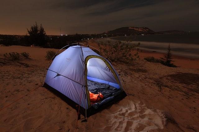 camp at the beach