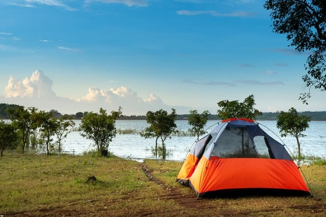 camping tent near a body of water