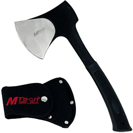 MTech USA Camping Axe, Two-Tone Blade, Black Rubberized Handle, 11-Inch Overall
