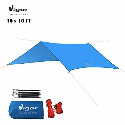 Vigor Waterproof Rainfly 10x10 ft Large Tent Tarp for Camping and Snow Protection with Reflective Rope and Windproof Stakes