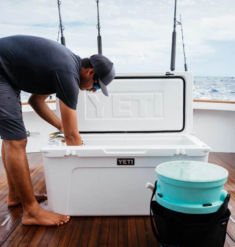man with yeti cooler