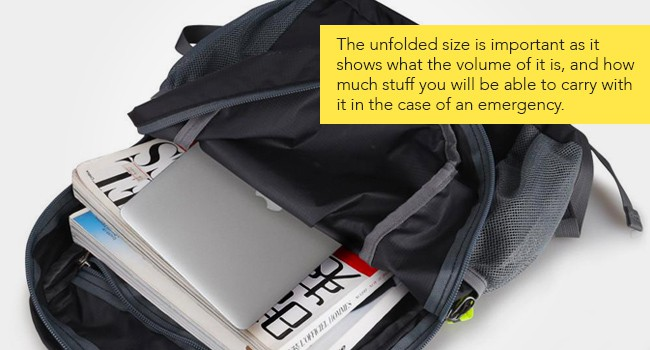 unfolded-size-best packable backpack