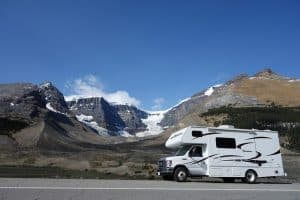 RV near Mountains
